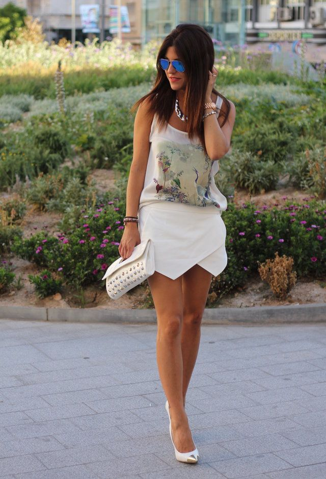 Todas as ideias combinadas brancos para a moda Primavera Aparência na moda Skort