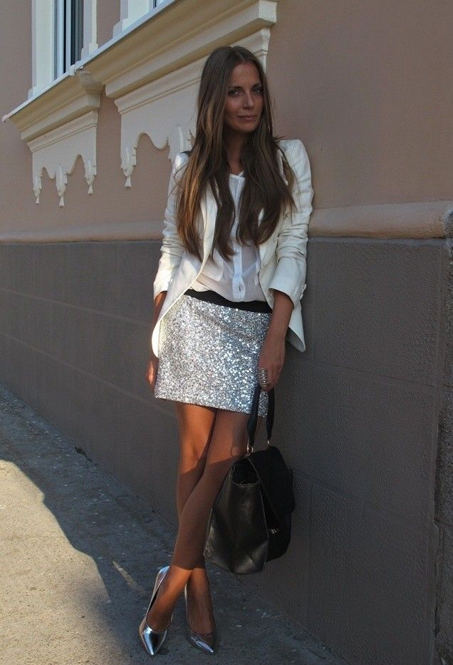 Todas as ideias combinadas brancos para a moda Primavera Aparência floral de prata saia