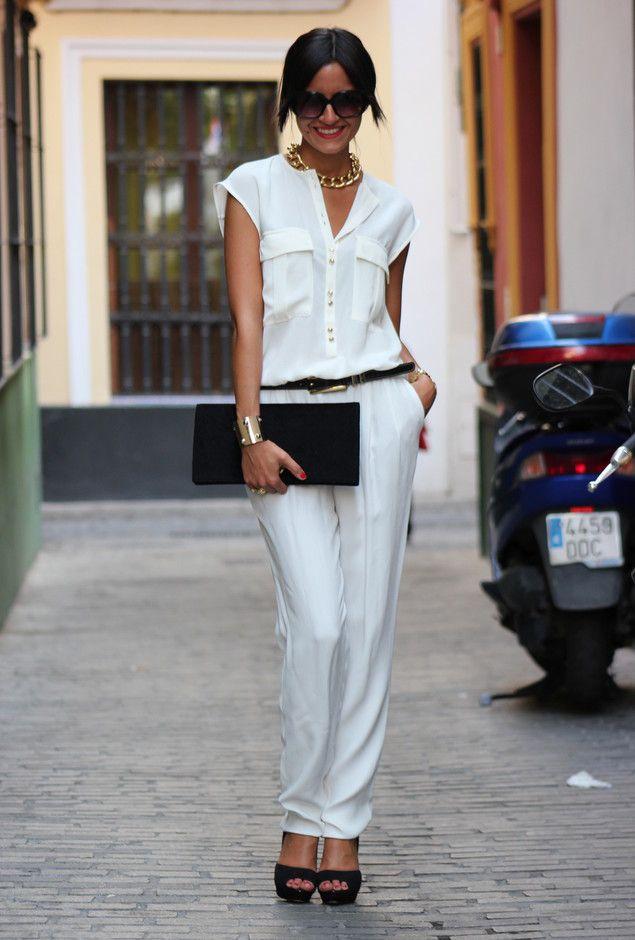 Todas as ideias combinadas brancos para a moda Primavera Aparência simples olhar