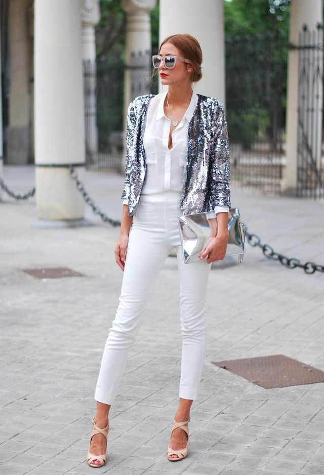 Todas as ideias combinadas brancos para a moda Primavera Aparência prata Shimmer