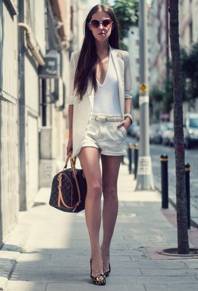 Todas as ideias combinadas brancos para a moda Primavera Aparência Shorts