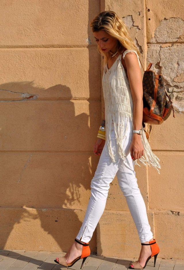Todas as ideias combinadas brancos para a moda Primavera Aparência Fringes