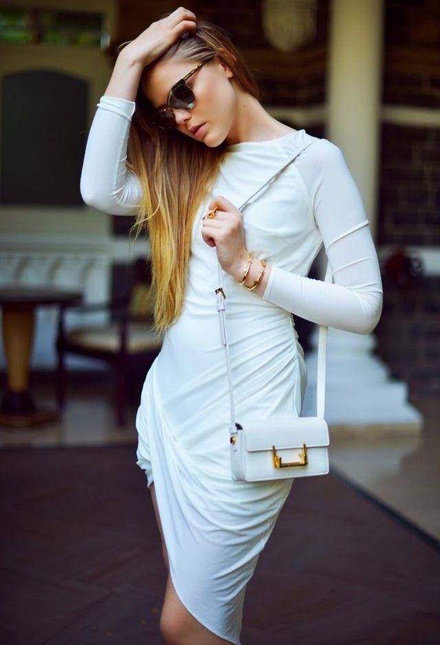 Todas as ideias combinadas brancos para a Primavera Elegante Aparência uma peça vestido