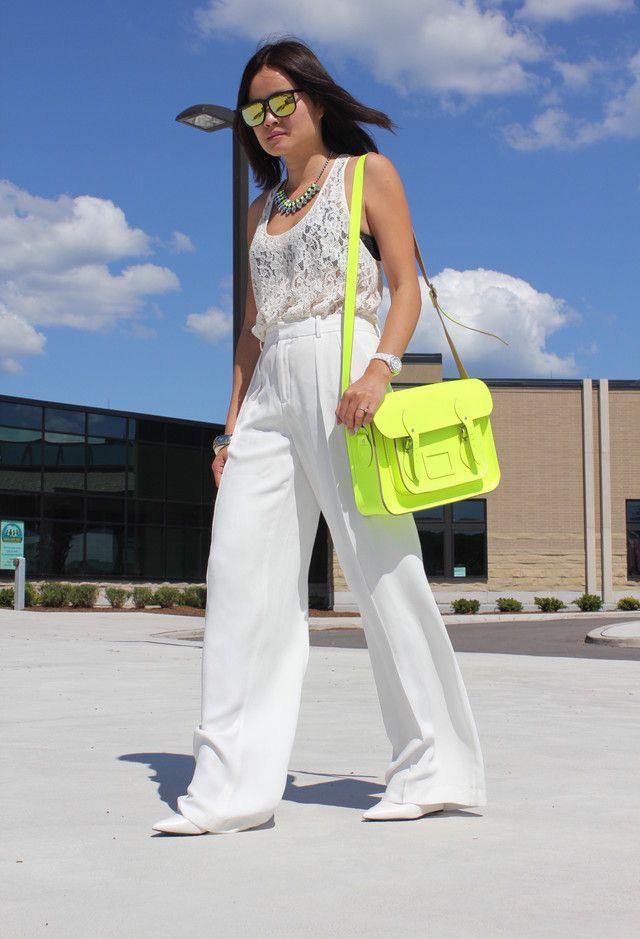 Todas as ideias combinadas brancos para a moda Primavera Aparência Lace e saco de cor brilhante