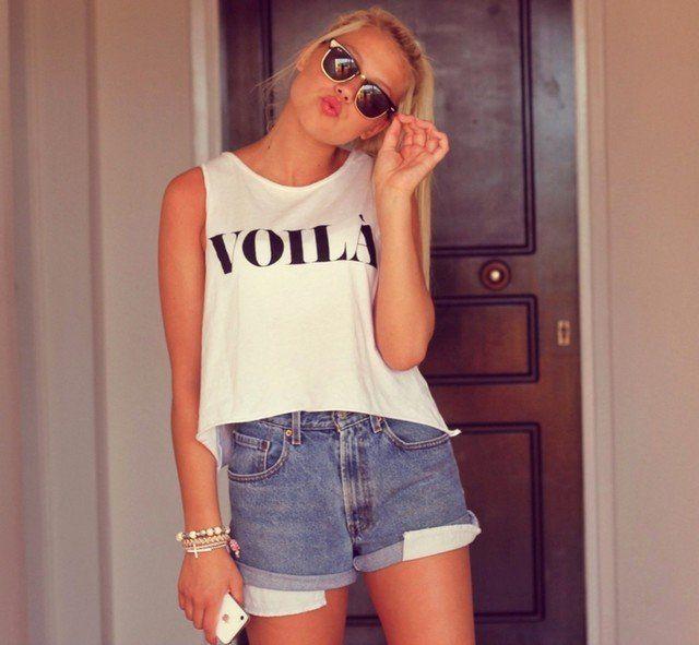 Idea Outfit simples com shorts jeans