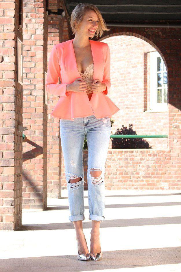 Idea Outfit bonita com Blazer e Jeans
