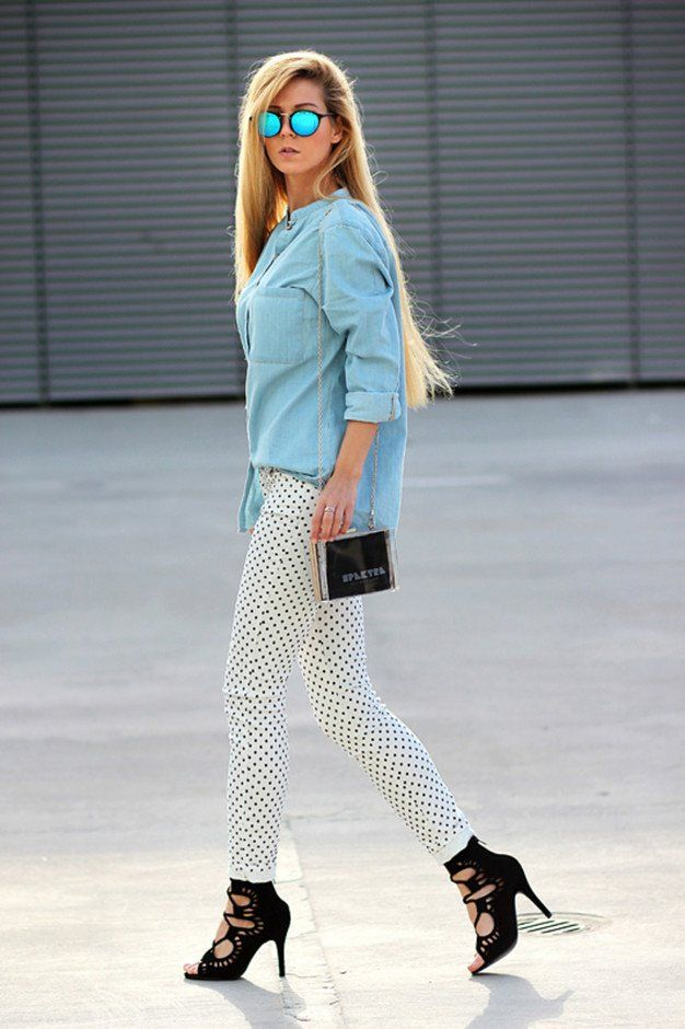 Idea Denim Outfit com branco Jeans