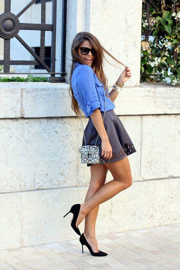 Blusas Jeans e Mini Saia Outfit Idea