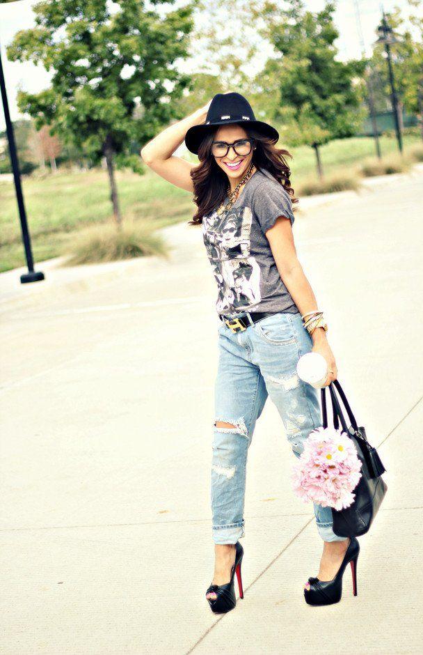 Idea Chic Outfit com jeans rasgado