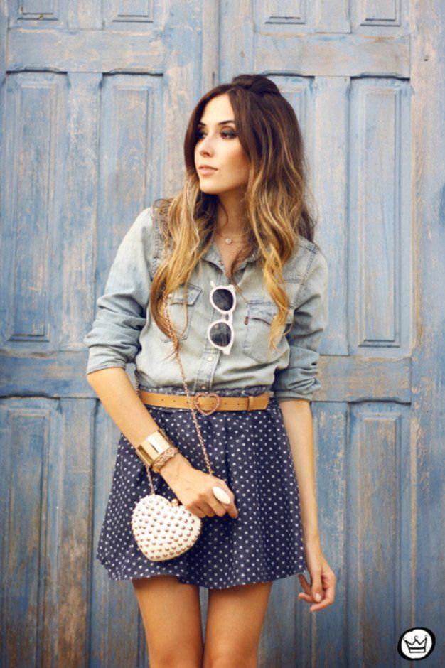 Idea Denim Outfit com Polka Dot Blusa