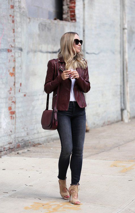 Borgonha-jaqueta de couro via
