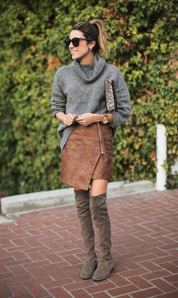 -cinzento-camisola-irregular-saia-e-joelho-botas altas via