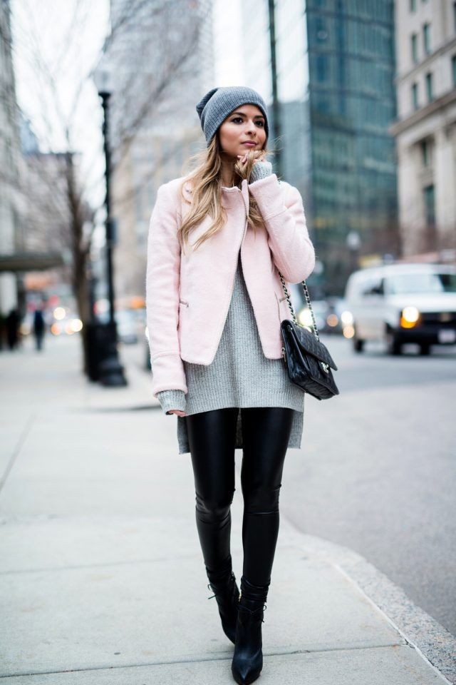 gray-camisola e curto-coat via