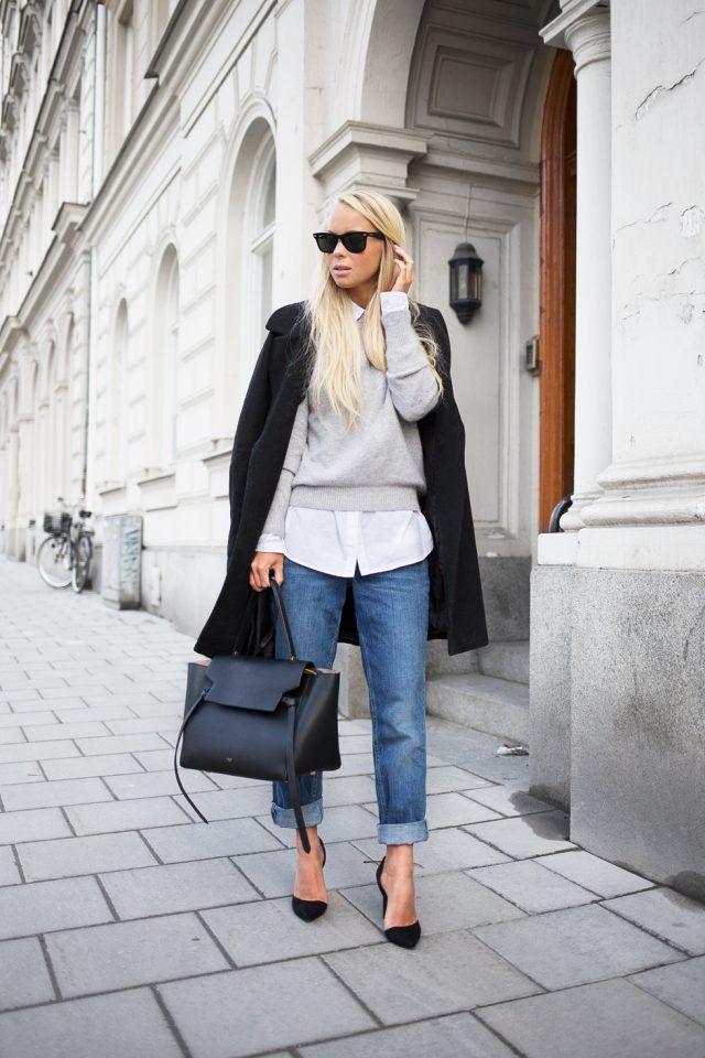 -Cinzento-branco da camisola-shirt-e-papo-calças via