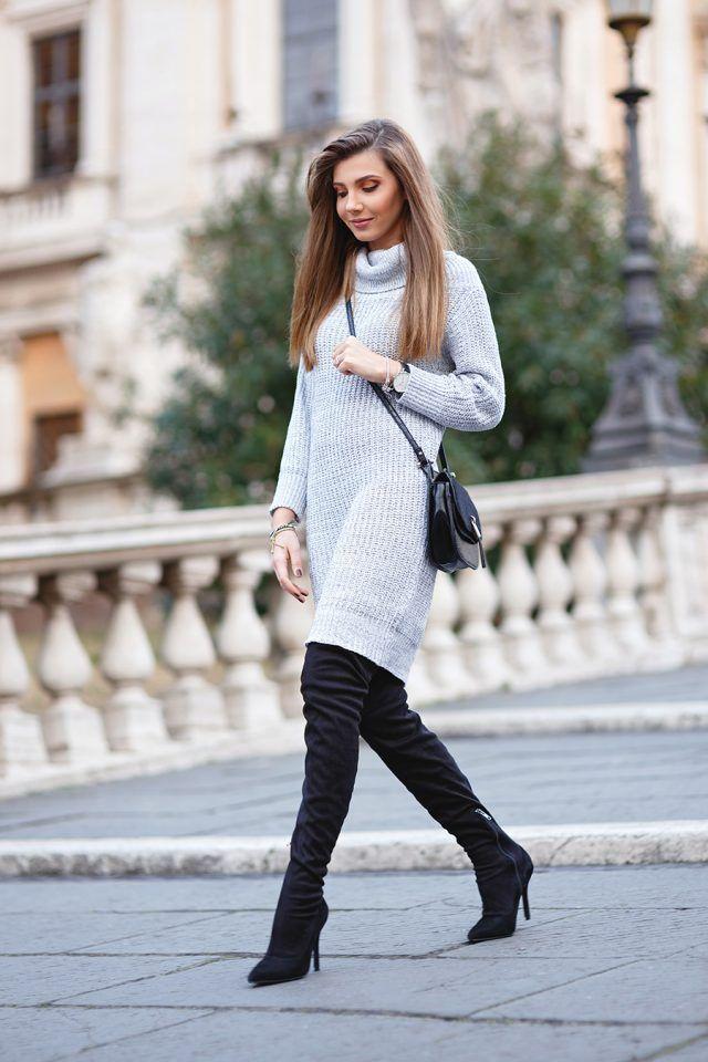 -cinza-claro-camisola-vestido-and-joelho-botas altas via