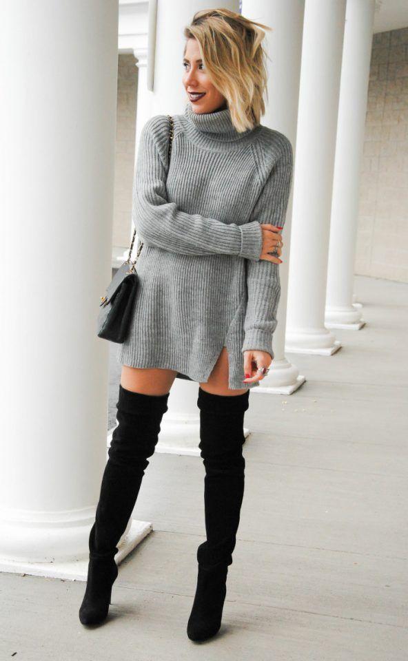 gola alta-camisola-vestido-e-preto-botas de via