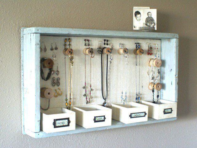 Organizador de jóias de madeira do vintage