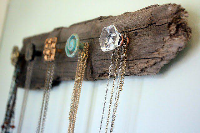 DIY titular colar rack de madeira