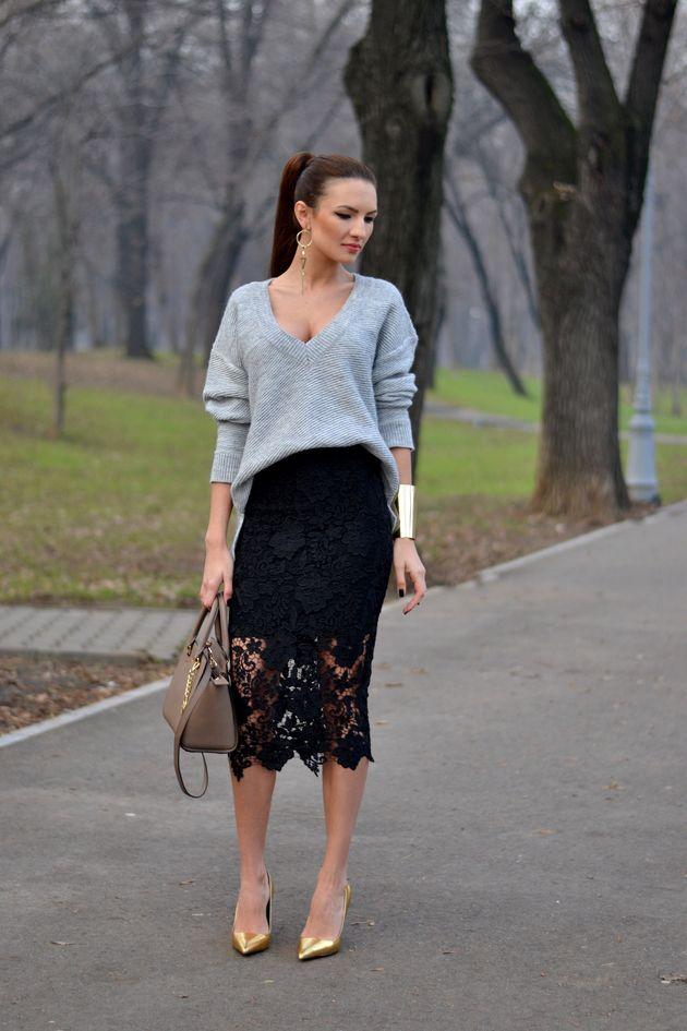 Camisola solta com Black Lacey Skirt