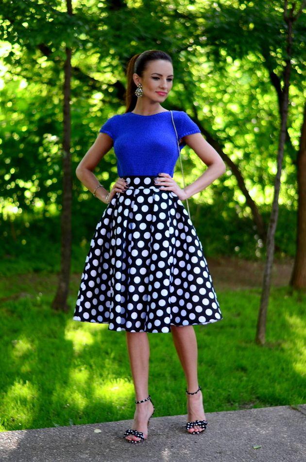 Top azul com Polka Dot Skirt