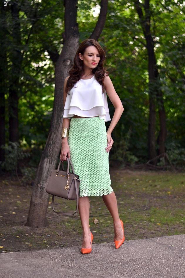 Top branco com verde Pencil Skirt