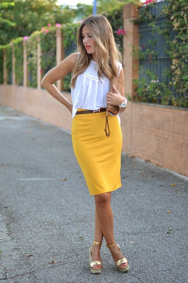 Branca Top and Yellow Pencil Skirt
