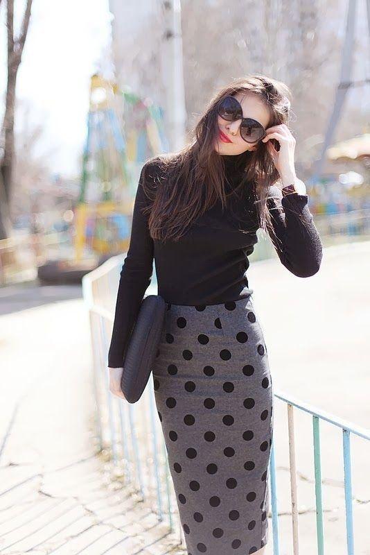 Pontilhado polca saia de Midi Outfit