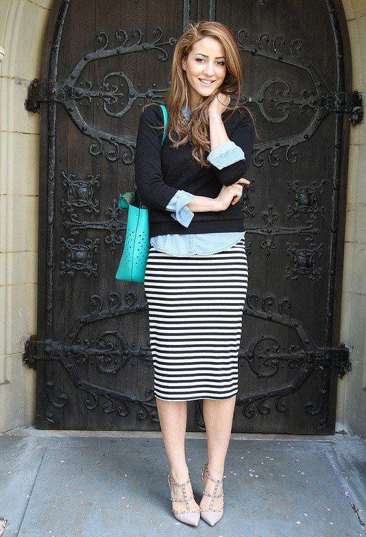 Listra saia de Midi Outfit para o Outono