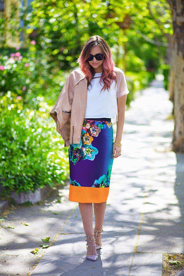Floral saia de Midi por Mulheres