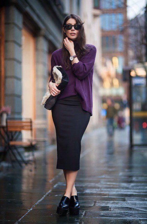 Camisola violeta e preto saia de Midi para a queda precoce