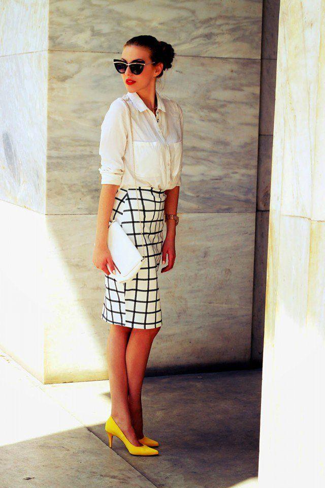 Quadriculada Pencil Skirt com a camisa