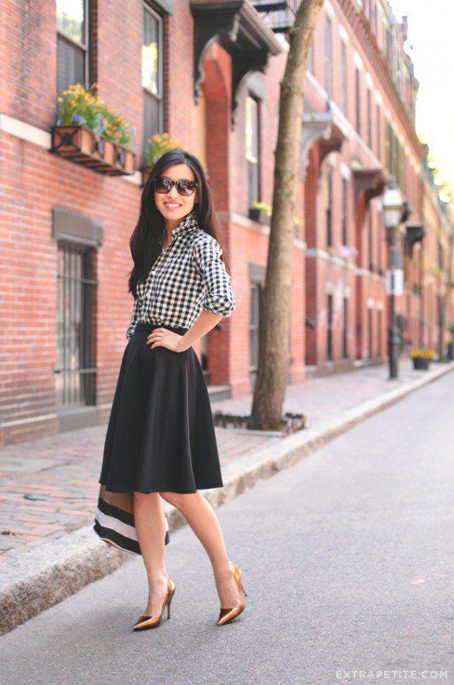 Quadriculada Imprimir Top com Full Skirt
