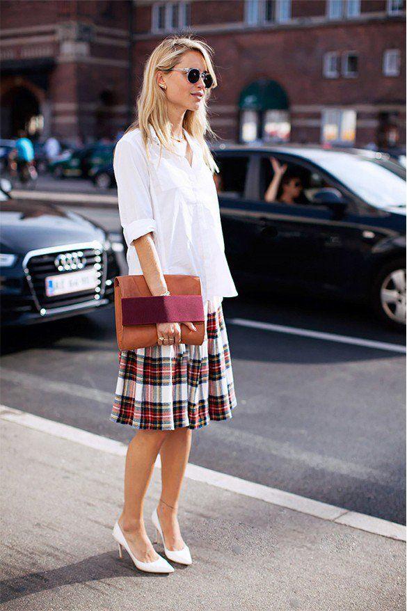Quadriculada impressão Mini-saia