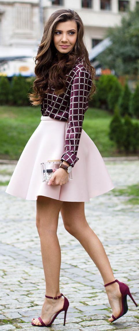 Roxo Checkered impressão da camisa