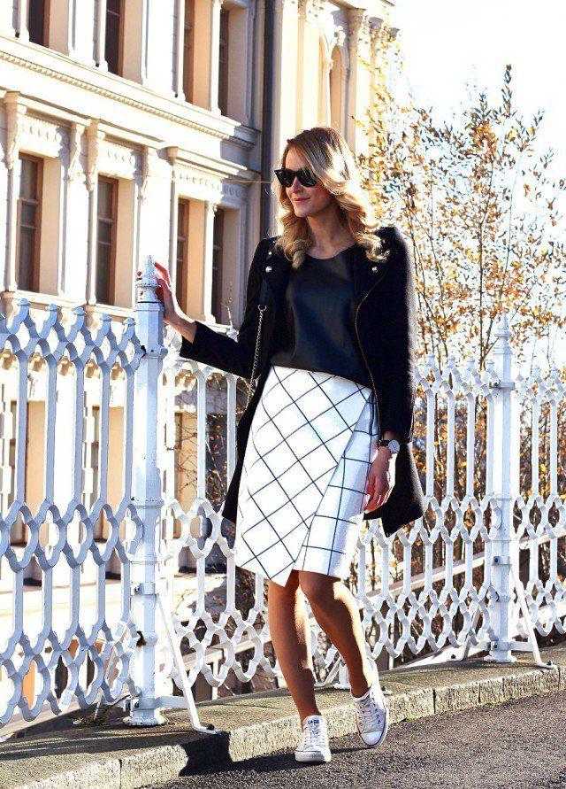 Branco Checkered impressão saia