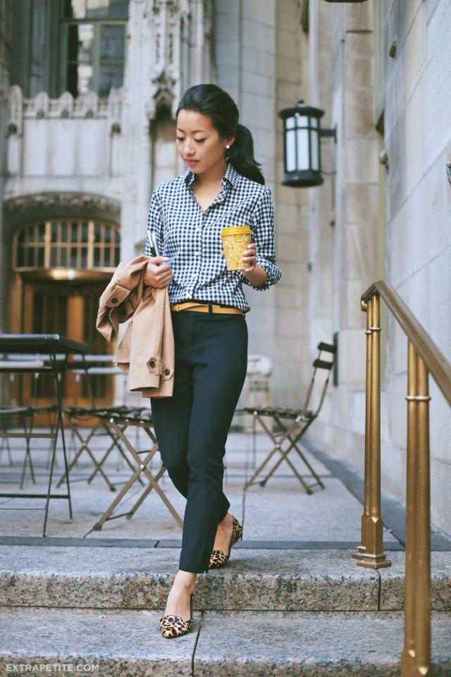 Quadriculada impressão Camisa com Jeans