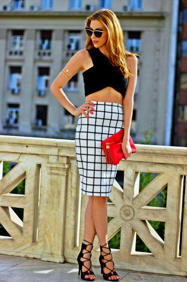 Quadriculada Pencil Skirt com Top Curto