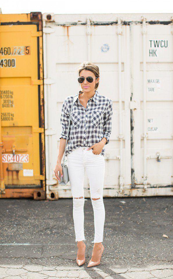 Quadriculada impressão shirt com branco Jeans