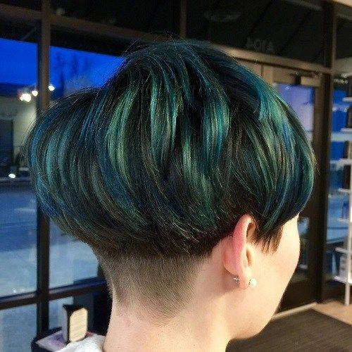 Azul e Emerald Cabelo Bacia