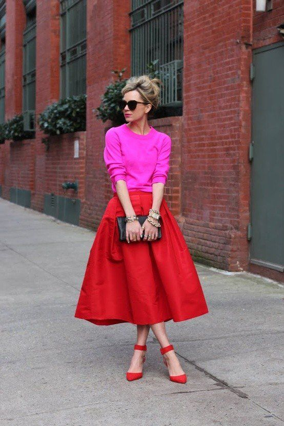 Rosa doce e Red Outfit Idea