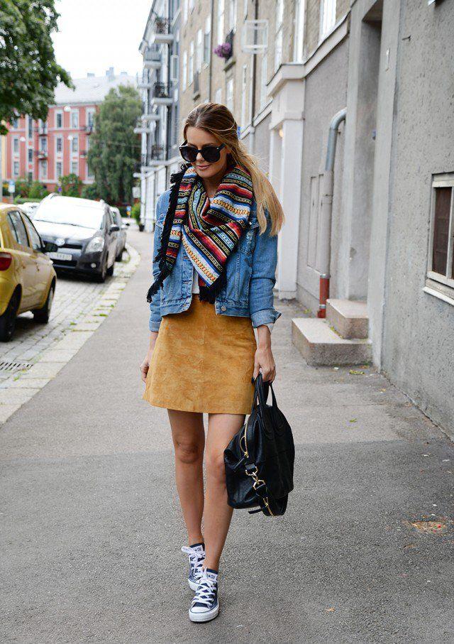 Jaqueta jeans com Suede saia