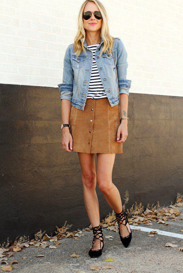 Jaqueta jeans com camurça com botões Saia