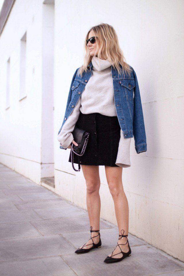 Jaqueta jeans com Black Suede com botões Saia
