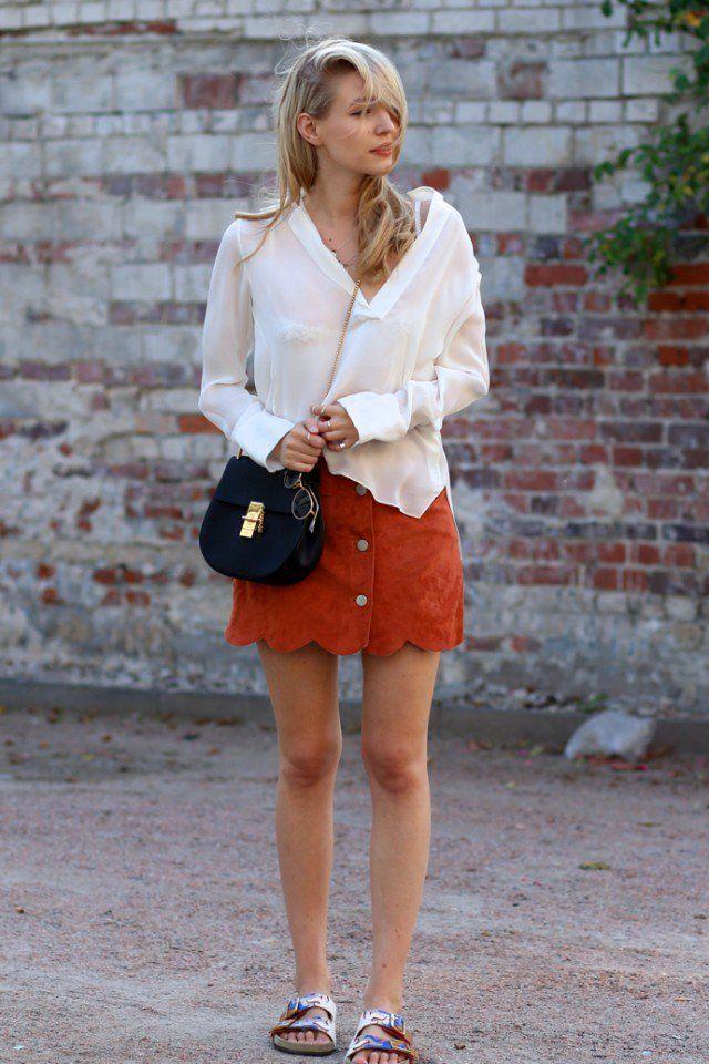 Camisa branca com Suede Mini-saia