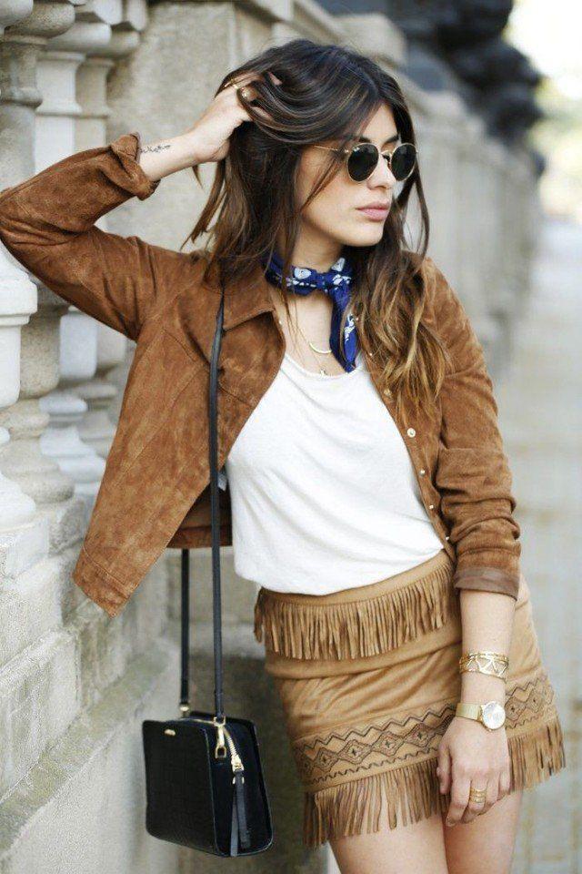 Jaqueta de camurça com franja saia
