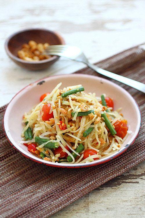 Green Papaya e salada de manga