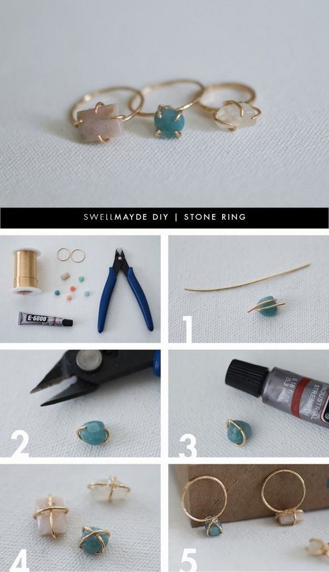 Projetos anel de pedra diy para meninas