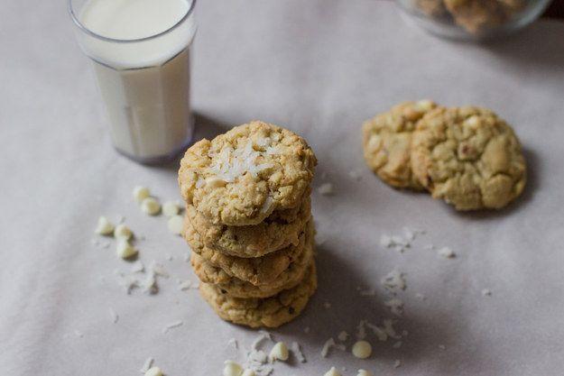 Fácil de coco e branco biscoitos de chocolate