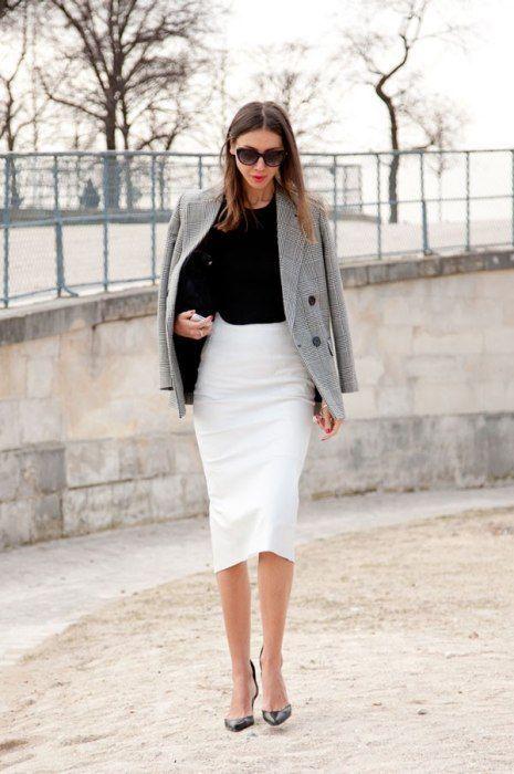 black-top-branco-saia lápis e cinza-blazer via