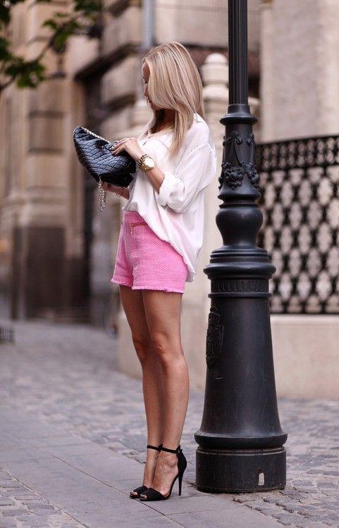 Branca Top e rosa Shorts via
